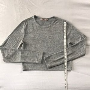 Forever 21 gray long sleeve fitted crop top